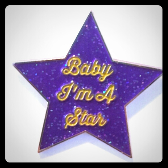 Prince: Baby I'm a Star gold & purple enamel pin  Boutique